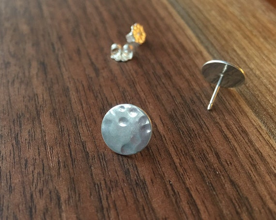 Pretty silver Earrings. Unique Sterling Silver moon inspired round earrings .