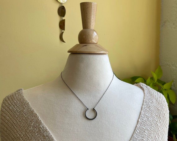 Oxidized Sterling Silver Open Circle Necklace