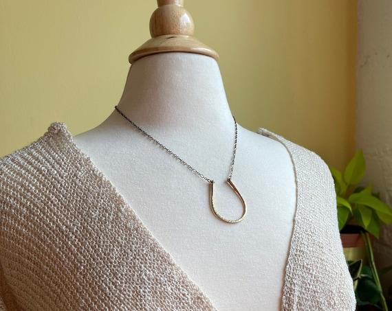 Large Brass Horseshoe Necklace