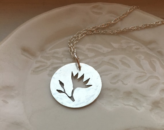 Sterling Silver Round Flower Necklace