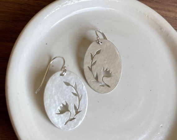 Large Floral Earrings. Sterling Silver Oval Earrings. Flower Earrings. Lightweight earrings