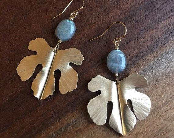 Botanical Leaf Earrings with Labradorite stones