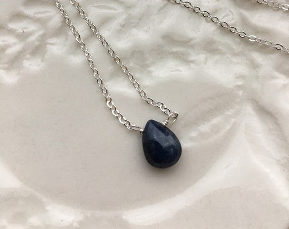 Sterling Silver and Sapphire gemstone necklace