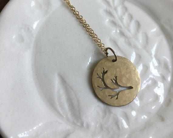 brass disk necklace