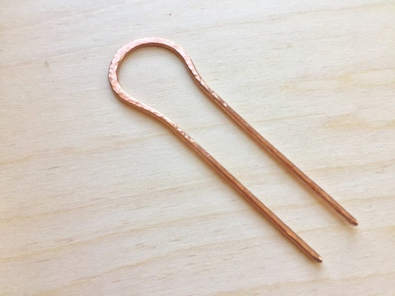 Hair Pin. Hand Hammered Copper Hair Stick