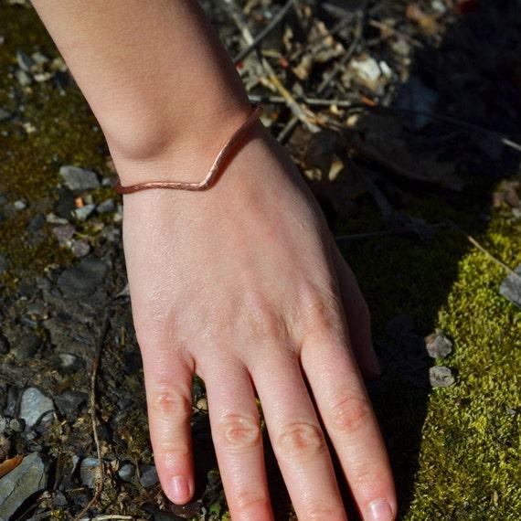 Hammered Copper Chevron Bracelet
