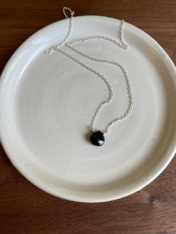 Black Onyx gemstone with delicate sterling silver chain Necklace. Black
