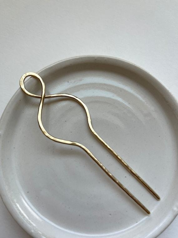 Small, lightweight Handmade Brass Hair Stick. Fancy twist top
