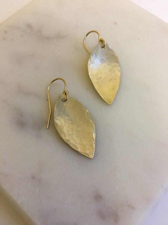 Small Brass Leaf Earrings