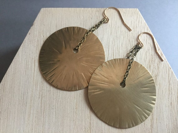 Hammered Large Sun Earrings, Elegant, Simple Gold Earrings