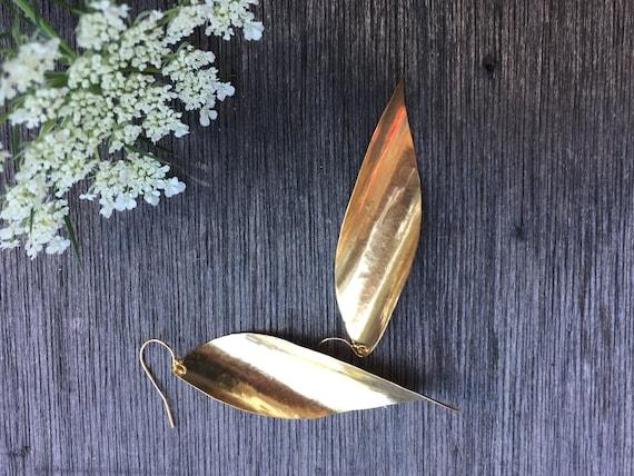 Hammered Brass Teardrops, Elegant, Simple Gold Earrings, large