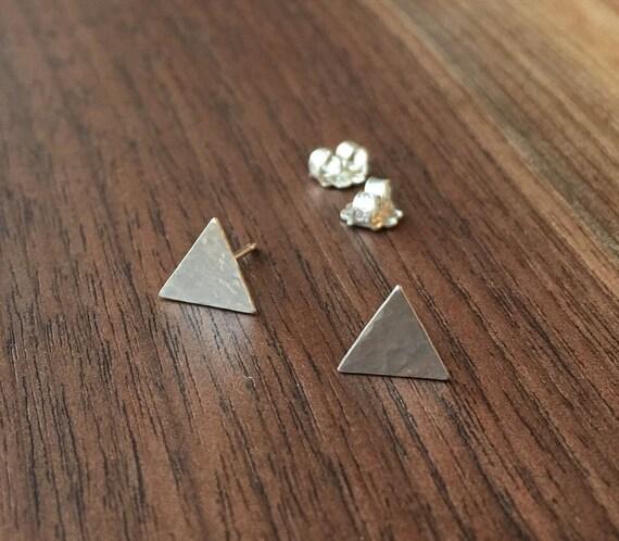 Sterling Silver Triangle Post Earrings. Simple Earrings