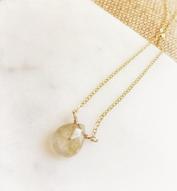 14k Gold-fill and Rutilated quartz necklace