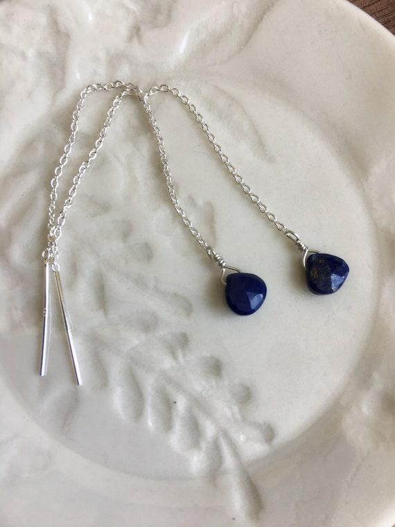Lapis Lazuli & Sterling Silver Earrings, Threader earrings