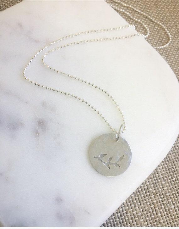 Silver Leaf Disk Necklace