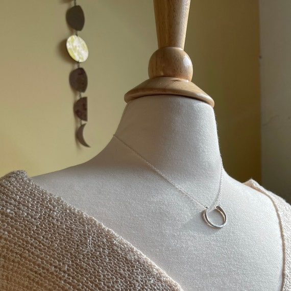 Hammered Sterling Silver Open Circle Necklace