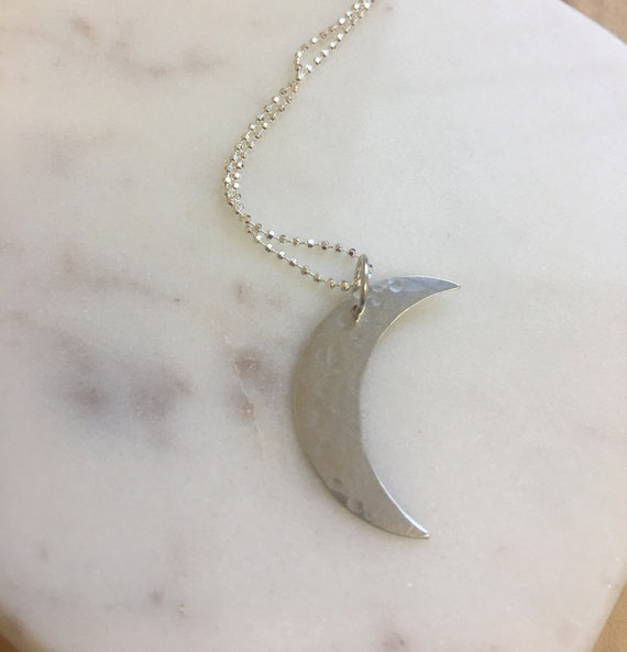 Delicate sterling silver Crescent Moon  Necklace