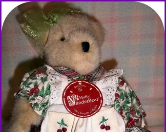 Muffy VanderBear Plush Bear Patisserie from Muffy Vanderbear Cherry Pie Collection With Stand & Tags New Condition 1992, Pretend Toys, Plush