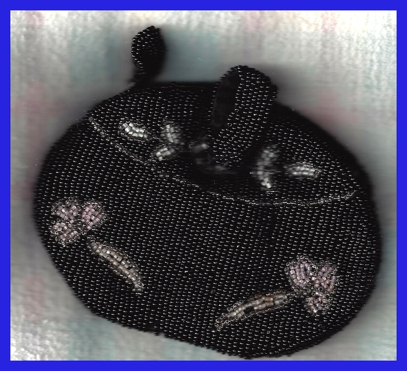 Early Last Century Doll Purse Black Satin /& Silk Lined Beaded in Black Gray Pink White Back 1 Inch Belt Loop