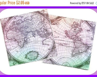 ON SALE Old World Uncharted Maps NOTE Cards Folded Tags Thank You Notes Set 20