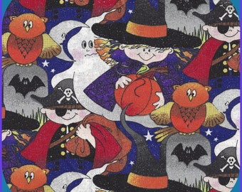 All That Glitters Happy Fun Halloween BOGO B1G1F Cotton Fabric 1/2 Yard 44 Inch Wide, Quilting, Masks, Doll Clothes, Sparkly, Ghostly Owls