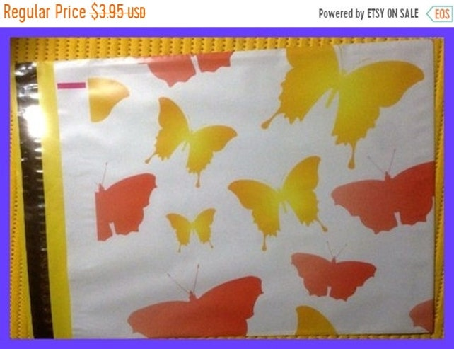 25% OFF BUTTERFLIES Poly Bags Self Adhesive Designer Envelope Mailers 10 x 13