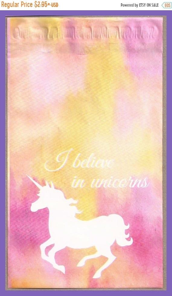 25% OFF Unicorns I Believe in Unicorns 6 x 9 Inch Poly Envelope Mailers Self Adhesive Designer