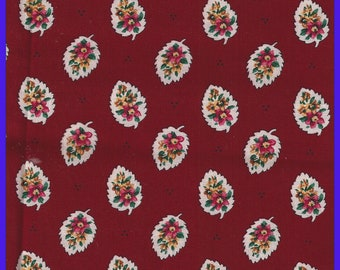 Retired 1997 Vera Bradley Fabric, RED LEAF, Quilting, Purses, Totes, 59 x 18 inches, Coin Bags, Quilting, Doll Clothes, Masks, Millinery
