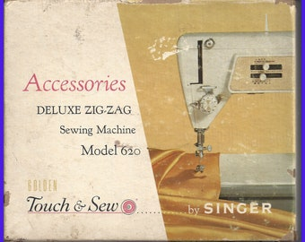 Singer Model 620 Touch & Sew Notions BOX Only, 1960s, Part 161848, Cams, Feet, Parts Attachments, Empty Slotted Storage Box, Sewing Machine