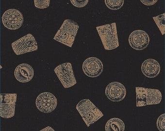 Quilting Thimbles & Buttons Gold Black Cotton Fabric 18 x 44 inch, Designer Face Masks, Pediatric Scrub Bonnets, Caps, Pillows, BOGO, B1G1F