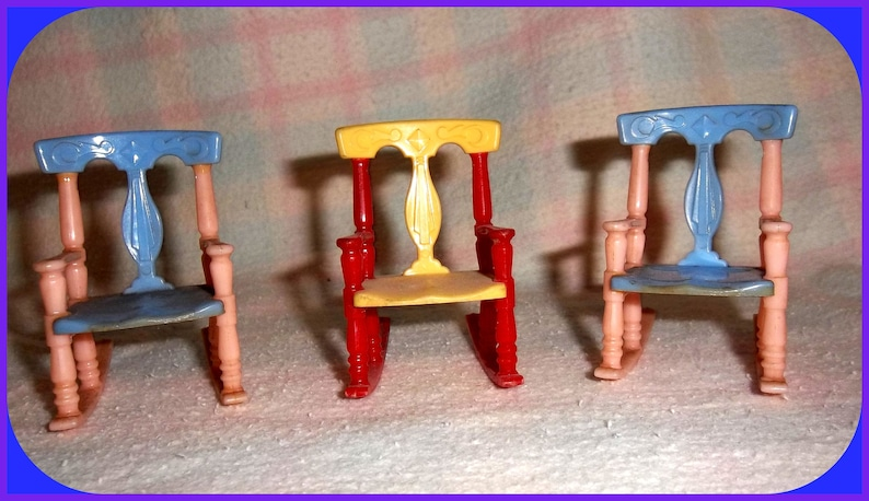 Brilliant Mid Century Renwal Rocking Chairs Set Of 3 Toy Dollhouse 1950S Hard Plastic 2 Color Combos Machost Co Dining Chair Design Ideas Machostcouk