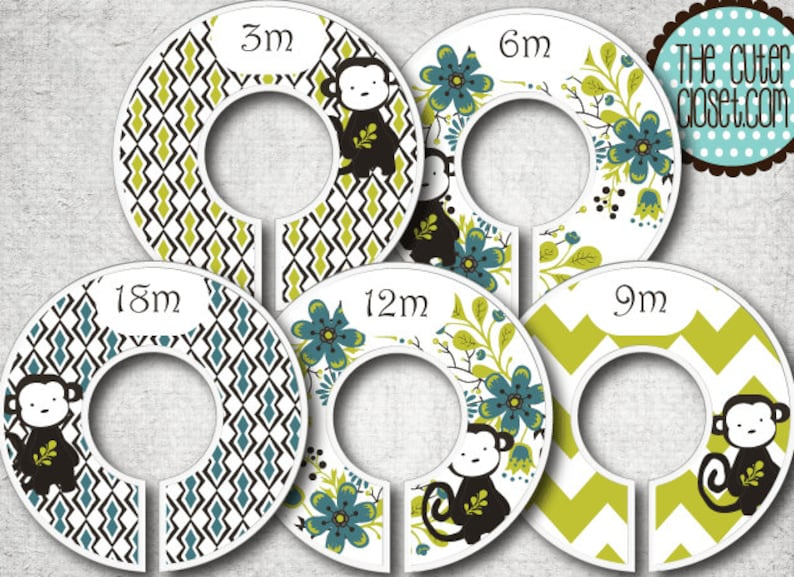 Baby Closet Dividers  Sweet Monkey Clothes Organizers image 0