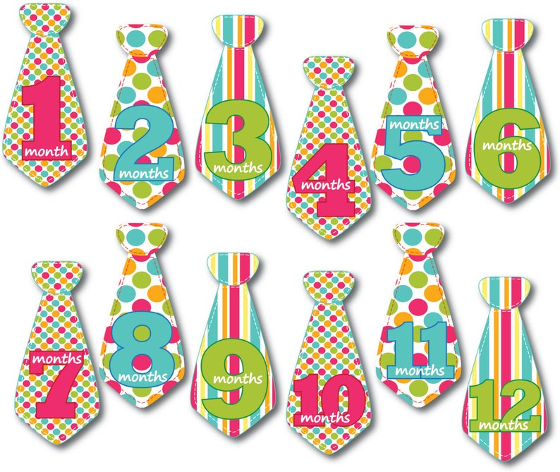 Baby Monthly Milestone Stickers  Circus Pattens  Neckties image 0
