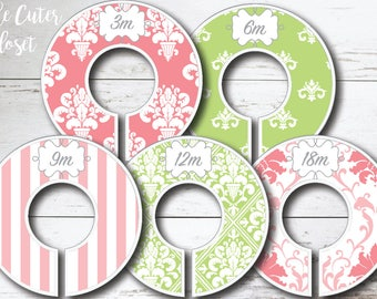 Baby Closet Dividers - Spring Patterns Lime- Clothes Organizers Nursery Decor Baby Shower Gift - Pink and Green
