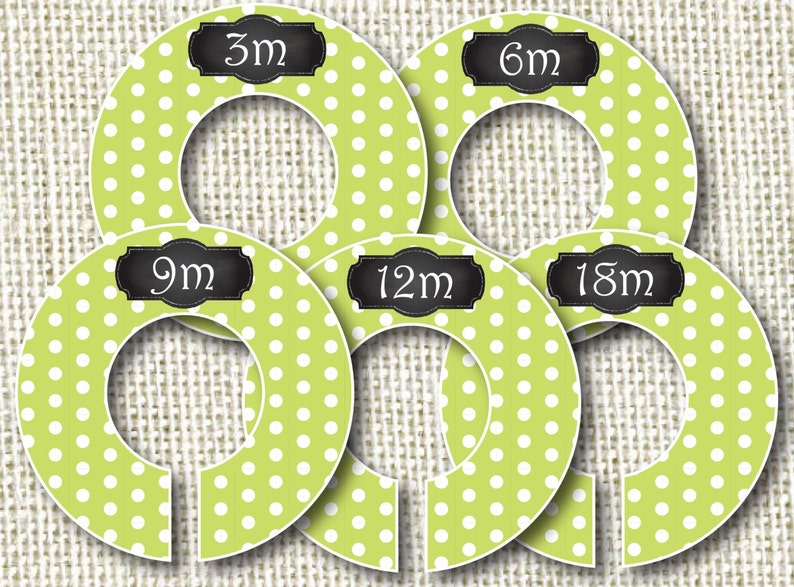 Baby Closet Dividers  Lime Polka Dots Clothes Organizers image 0