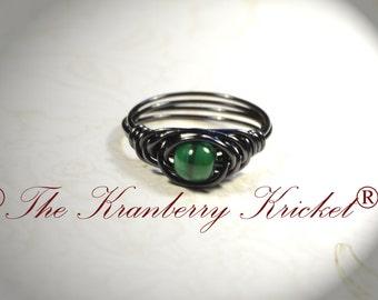 Toothless inspired Ring, Dragon Eye Ring, Green Dragon Eye, Black Dragon Ring, Size 6