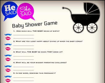 He Said She Said Baby Shower Game Instant Download