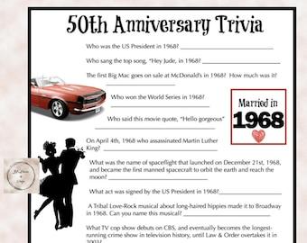 1968 Anniversary Trivia Game