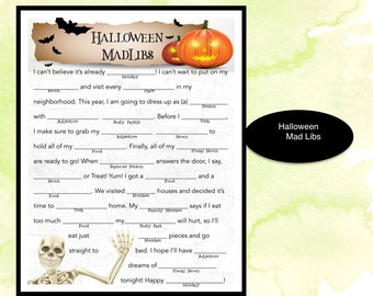 picture regarding Halloween Mad Libs Printable named Halloween outrageous libs Etsy