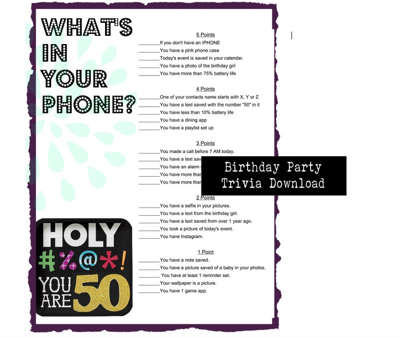 50th Birthday Party Game Whats In Your Phone