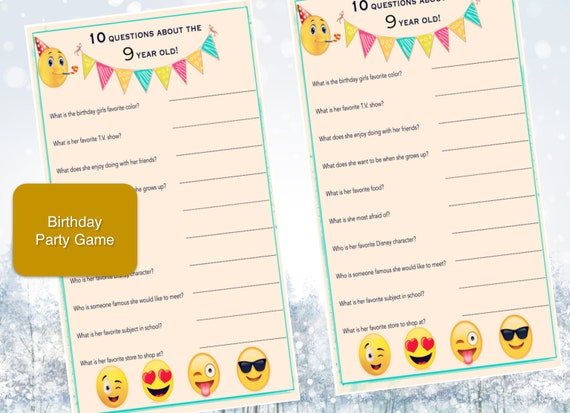 Items Similar To Girls Birthday Party Game 9 Year Old