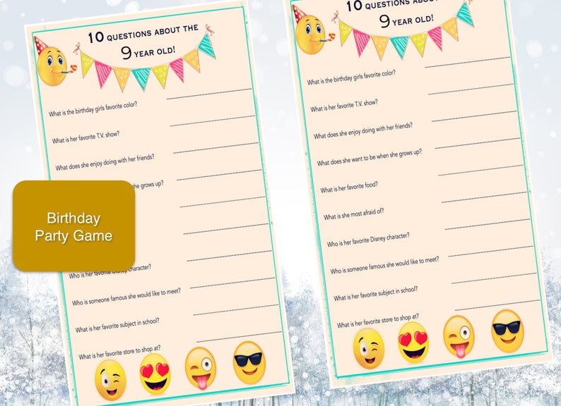 Girls Birthday Party Game 9 Year Old Emoji Theme