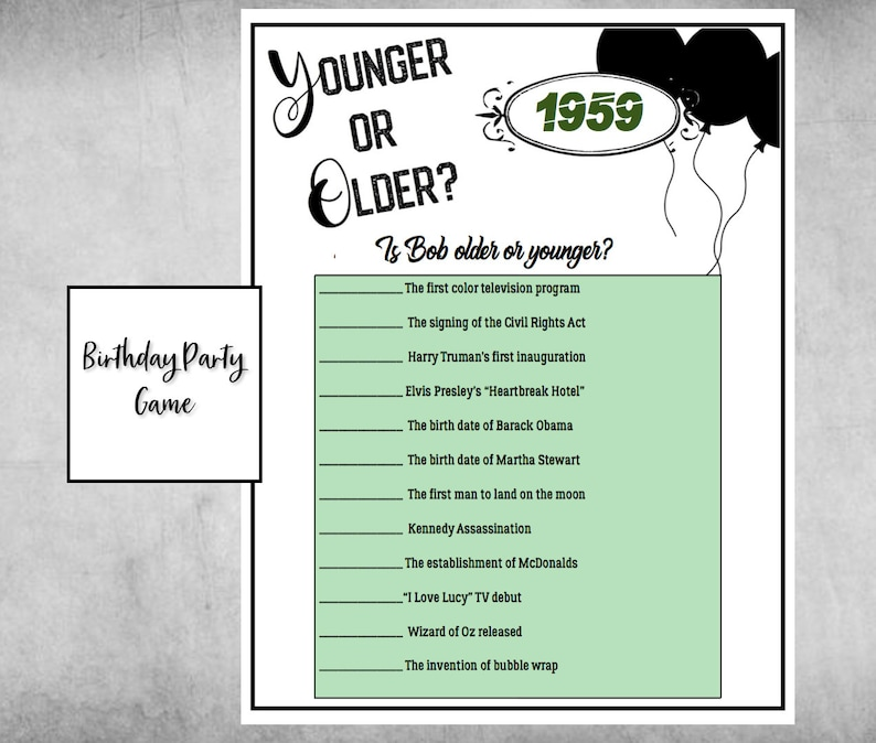 60th Birthday Game - Younger or Older game- Birthday Trivia for Old Man or  Old Lady! Fun Game to Play at Birthday Party 1959