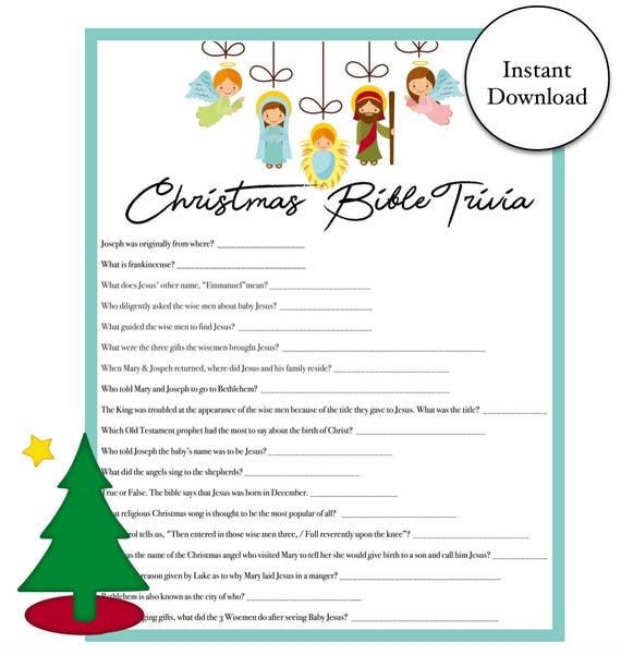Christmas Bible Trivia.Christmas Bible Trivia Game Instant Download Holiday Party Games