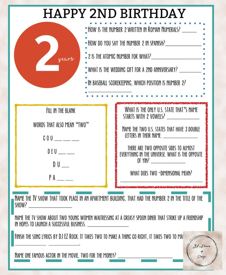 2nd Birthday Trivia Game | Instant Download | Everything to do with the  number 2!