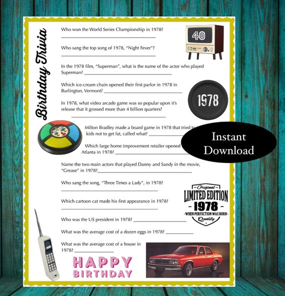 1978 Year Birthday Trivia Game Instant Download 40th