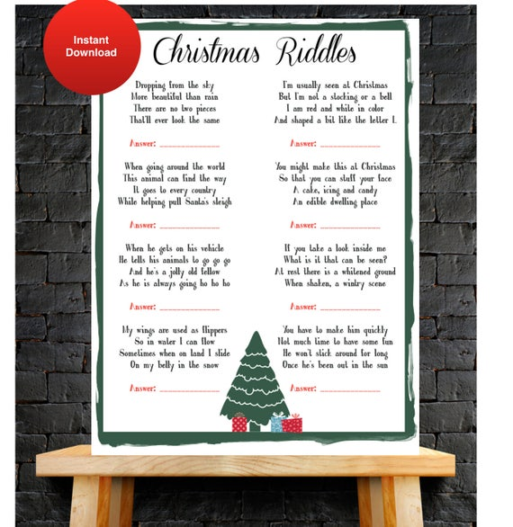 Christmas Riddles For Kids.Kids Holiday Party Games Guess The Christmas Riddle Instant Download