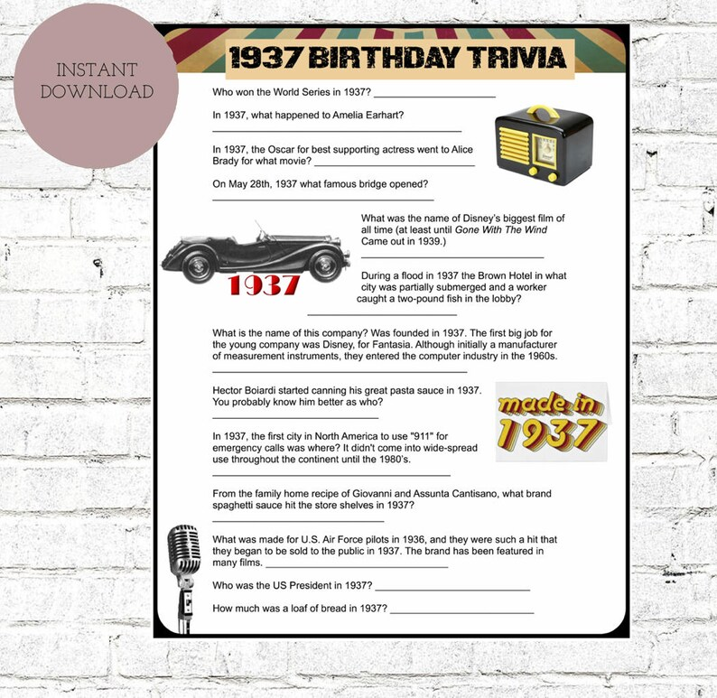 1937 Birthday Trivia Game-  80TH Birthday Party Trivia   Instant Download