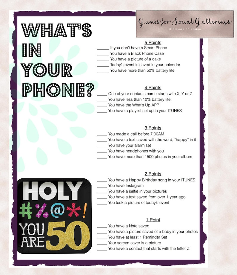 50th Birthday Party Game Whats In Your Phone Ideas