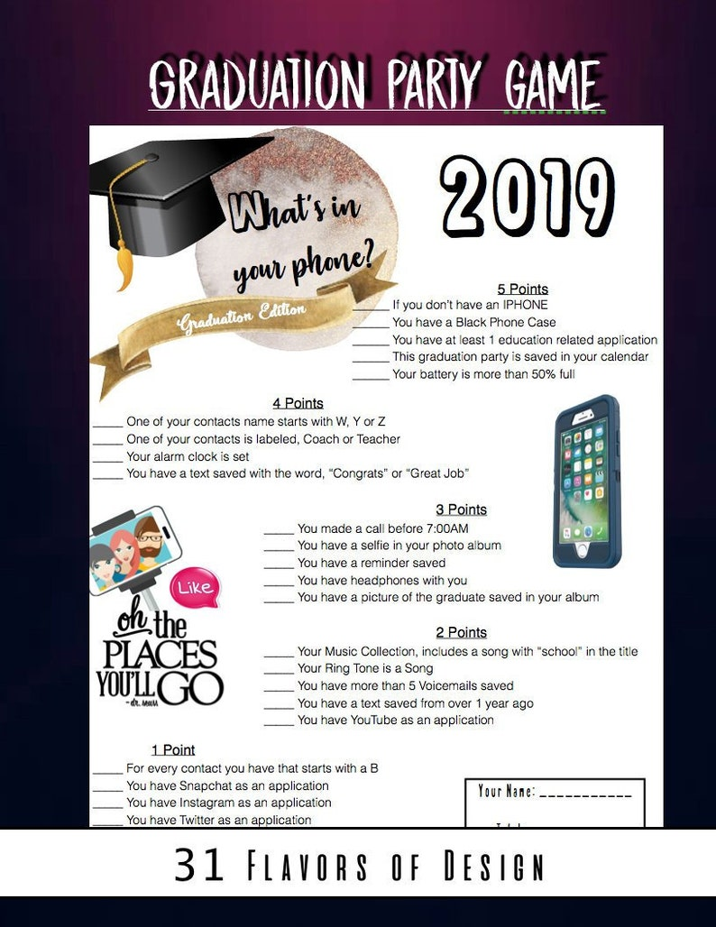 Graduation Party Game-Whats in your phone Game- Graduation Party 2019    Graduation party DIY   Graduation High School, College, 8th Grade